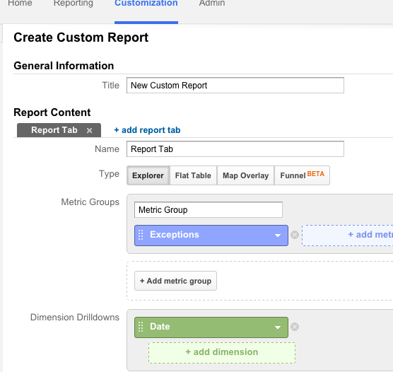 Google Analytics Exception Report